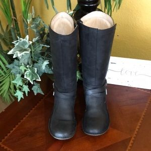 UGG Black Rosen Leather Tall Riding Boots